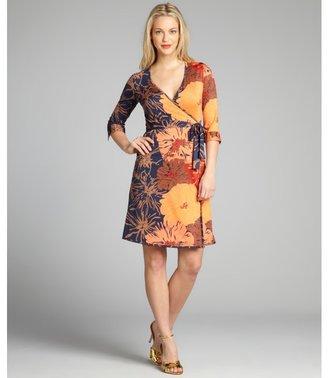 Julie Brown JB by orange tropical print jersey wrap dress