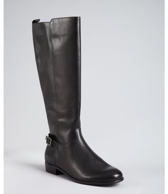 Ciao Bella black leather 'Luton' buckle detail flat boots