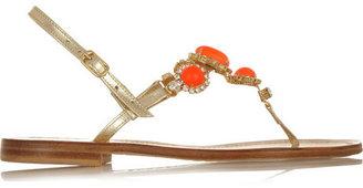 Musa Swarovski crystal-embellished metallic leather sandals