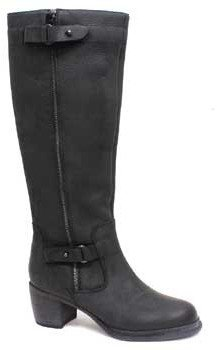 "Vera Wang Nessa"" Black Oiled Leather Tall Boot"