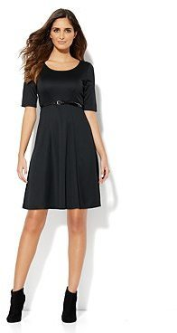 New York & Co. Fit & Flare Dress with Patent Belt