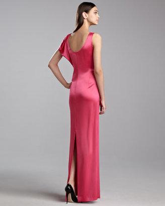 St. John Liquid Satin Drape Gown, Haute Pink