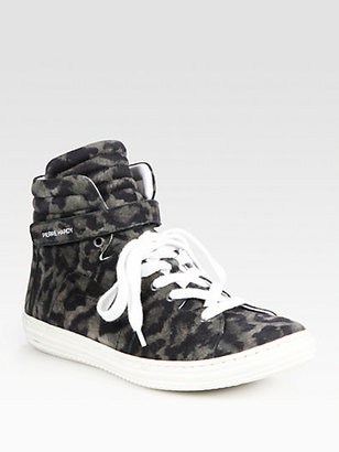Pierre Hardy Leopard-Print Suede High Top Sneakers