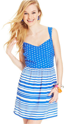 BeBop Juniors' Striped Polka-Dot-Print Dress