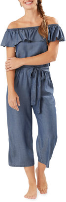 Tommy Bahama Chambray Off-the-Shoulder Crop Jumpsuit