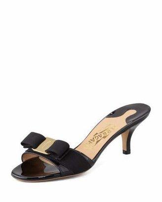 Salvatore Ferragamo Glory Patent Bow Slide Sandal, Black $425 thestylecure.com