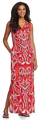 Jones New York Signature Woman V-Neck Ruffle Maxi Dress