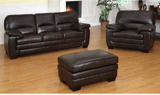 Abbyson Living Braxton Italian Leather Sofa, Armchair and Ottoman Set