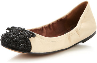 Sam Edelman Beatrix Spiked Toe Ballet Flat, Ivory/Black