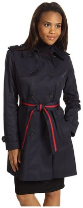 Tommy Hilfiger Andrea Double-Breasted Raincoat (Midnight) - Apparel