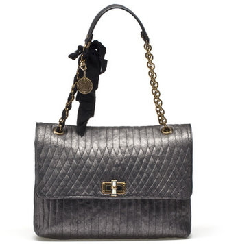 Lanvin Large Happy Bag In Quilted Lame Sheepskin