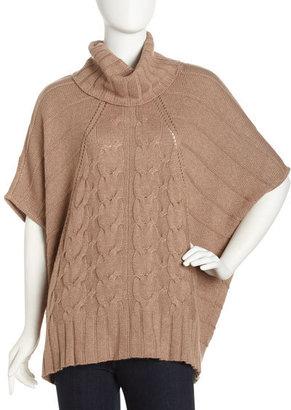 Design History Cape-Sleeve Chunky Sweater, Wheat Heather