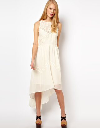 Asos Midi Dress With High Low Hem And Lace Insert
