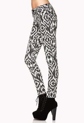 Forever 21 No Grey Area Ikat Skinny Jeans