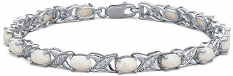 Xo FINE JEWELRY Lab Created Opal with Diamond Accents Sterling Silver Link Bracelet