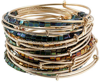 Alex and Ani Lustre Bead 21 Expandable Wire Bangles Set
