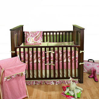 My Baby Sam Pink & Lime Paisley Splash 4 Piece Crib Bedding Set