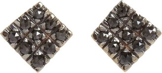 Black Diamond Fabrizio Riva Square Stud Earrings-Colorless