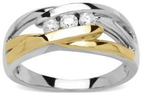 Lord & Taylor Sterling Silver with 14Kt. Yellow Gold Diamond Ring