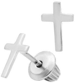 Girl's Mignonette Sterling Silver Cross Earrings $39 thestylecure.com