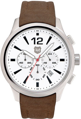 Andrew Marc New York Watches 'Club Varsity' Leather Strap Watch