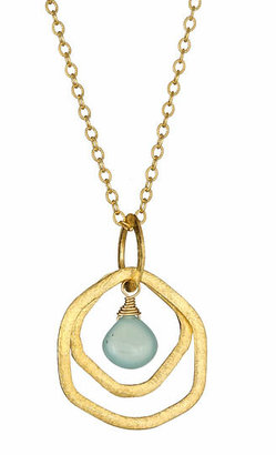 Urban Posh Lilly Green Chalcedony Gold Necklace