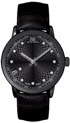 88 RUE DU RHONE Ladies' Double 8 Origin Black Leather Watch with Diamonds