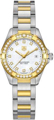 TAG Heuer Women's Swiss Aquaracer Diamond (9/20 ct. t.w.) 18k Gold-Capped Stainless Steel Bracelet Watch 27mm WAY1453.BD0922 $5,700 thestylecure.com