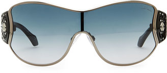 Roberto Cavalli Metal Shield Sunglasses with Lattice, Metallic Gray