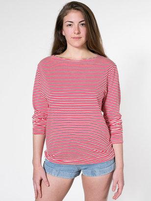 American Apparel Stripe Long Sleeve Boat Neck Shirt