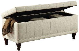 HomeSullivan Upholstered Chic Storage Bench in Cream