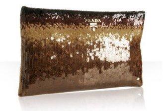 Prada bronze ombre trimmed sequined clutch