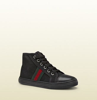 Gucci Kid's Black Fabric High-Top Sneaker With Web Detail
