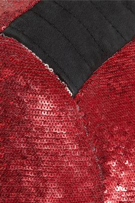 IRO Longina sequined jersey and leather jacket