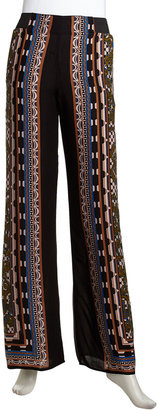 Romeo & Juliet Couture Pull-On Wide Baroque-Print Pants, Multi