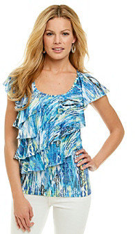 Amy Byer Printed Knit Ruffle Front Top