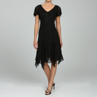 J Kara JLaxmi Women's Beaded Handkerchief-hem Dress $141.99 thestylecure.com