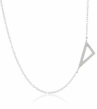 """Adina Sterling Pave Diamond Tiny Right Angle Necklace 15.5"""" + 1"""" extender"""