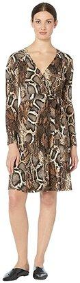 Donna Morgan Long Sleeve Mock Wrap Dress In Python (Black/Taupe) Women's Dress