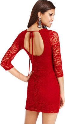 Wishes Wishes Wishes Juniors Dress, Three-Quarter Sleeve Lace Cutout