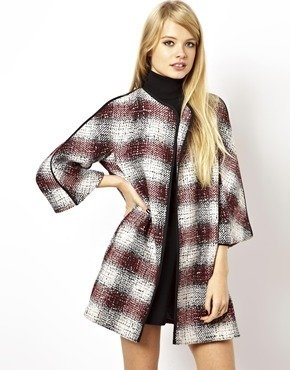Asos Throw On Coat in Trapeze Check