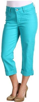 NYDJ Petite - Petite Carmen Rhinestone Cuff Crop Colored Denim (Aquamarine) - Apparel