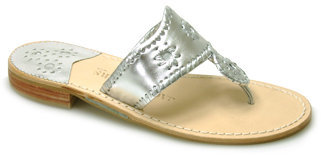 Jack Rogers Navajo - Silver Metallic Leather Thong