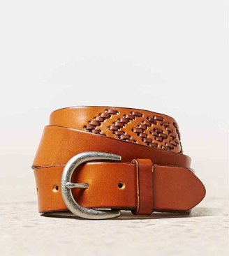 American Eagle AEO Chevron Stitch Leather Belt