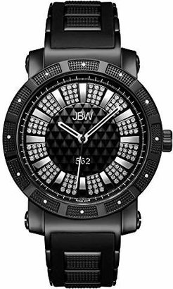 """JBW Men's JB-6225-K""""562"""" Pave Dial Diamond Ion-Plated Rubber Band Watch"""