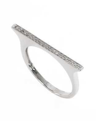 EFFY Pave Classica 14Kt White Gold and Diamond Bar Ring