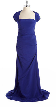 Nicole Miller Cap-Sleeved Draped Gown