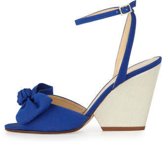 Kate Spade Iberis Bow Wedge Sandal, Blue