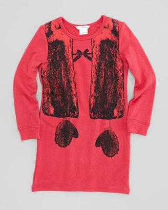 Little Marc Jacobs Trompe l'Oeil Vest & Mitten Print Shirt Dress, Red, Sizes 2-5
