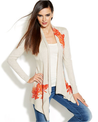 INC International Concepts Sequined Floral-Print Open-Front Cardigan
